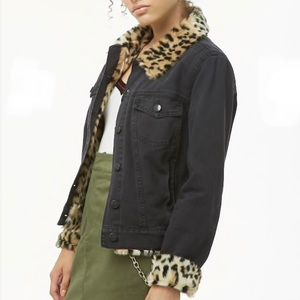 Forever 21 Leopard Trim Black Denim Jacket Medium